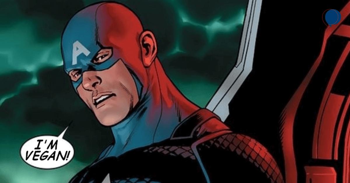 "Captain America saying ""I'm vegan."""