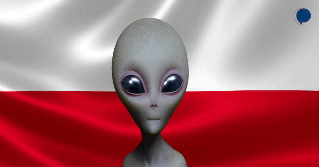 An extraterrestrial alien standing in front of a Polish flag.